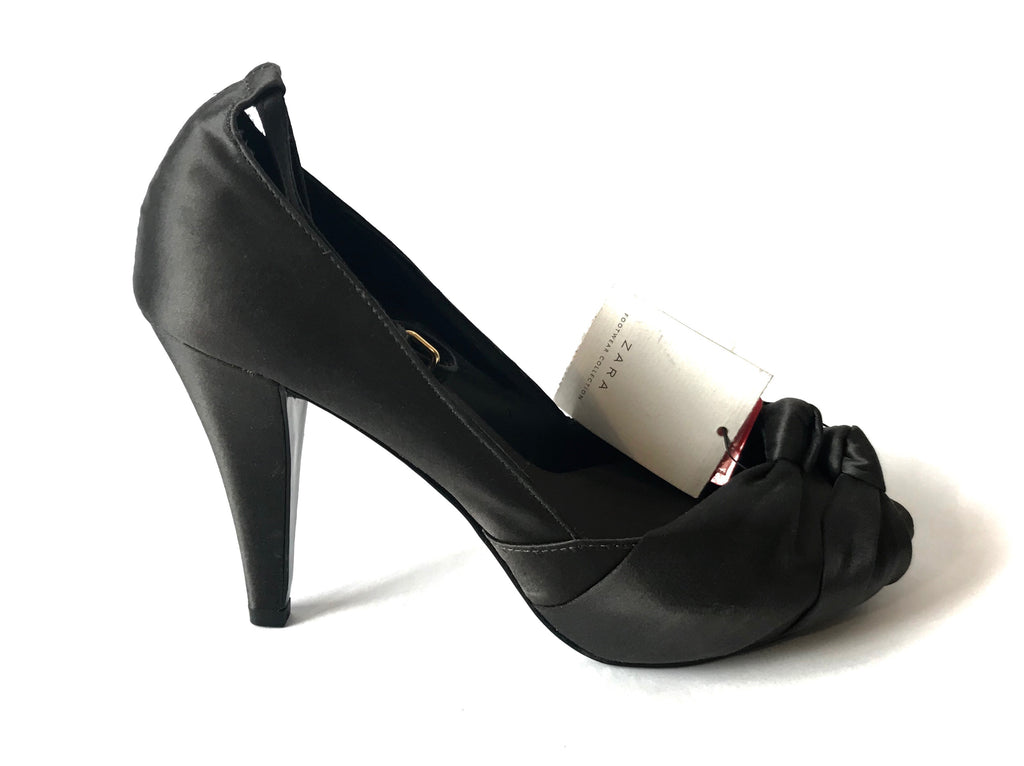 ZARA Black Satin Peep-toe Heels | Brand New |