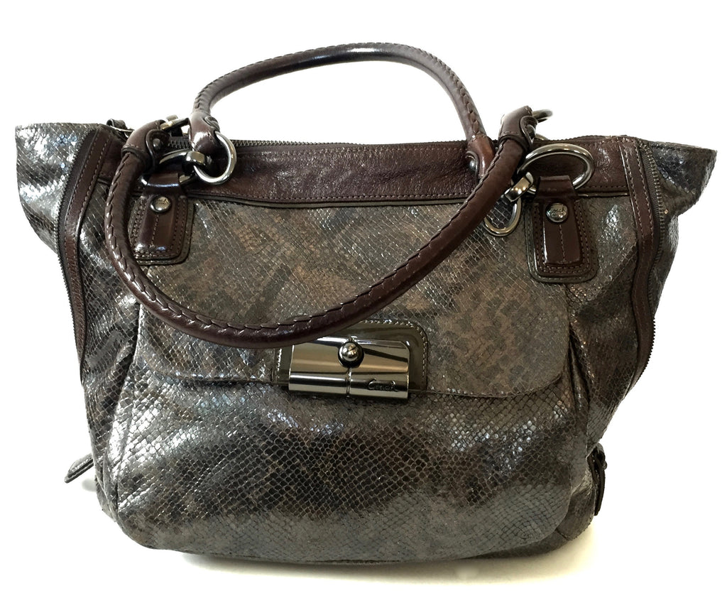Coach Dark Brown Snakeskin with Leather Trim Tote | Gently Used | - Secret Stash