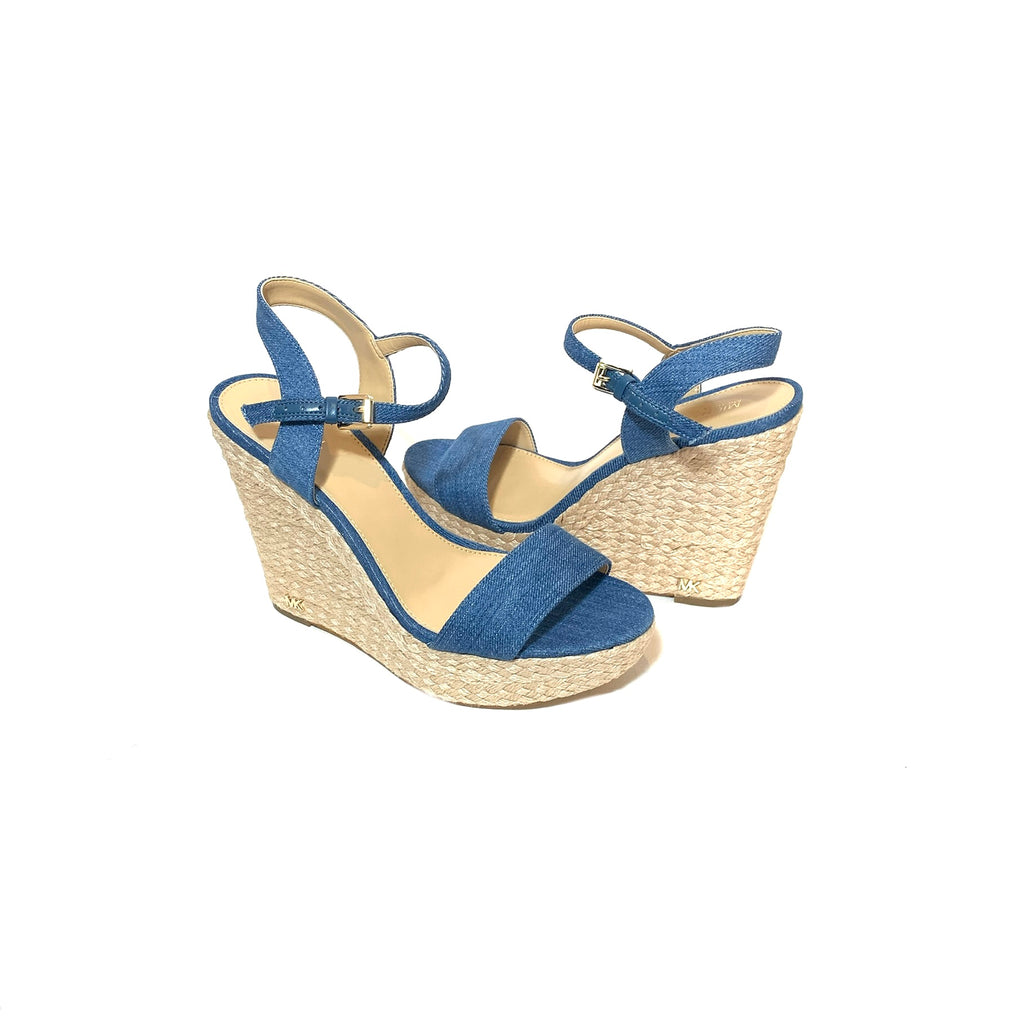 Michael Kors Denim & Jute 'Jill' Wedges | Brand New |