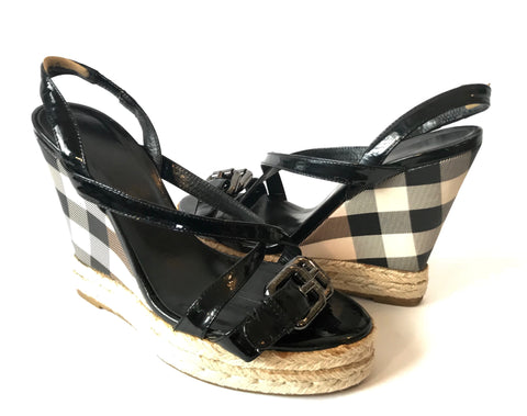 Burberry Check & Leather Wedges | Pre Loved |
