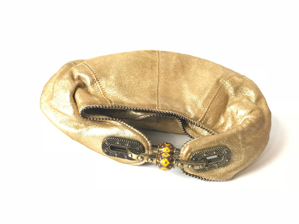 Jimmy Choo Metallic Satin Gold Clutch | Like New |