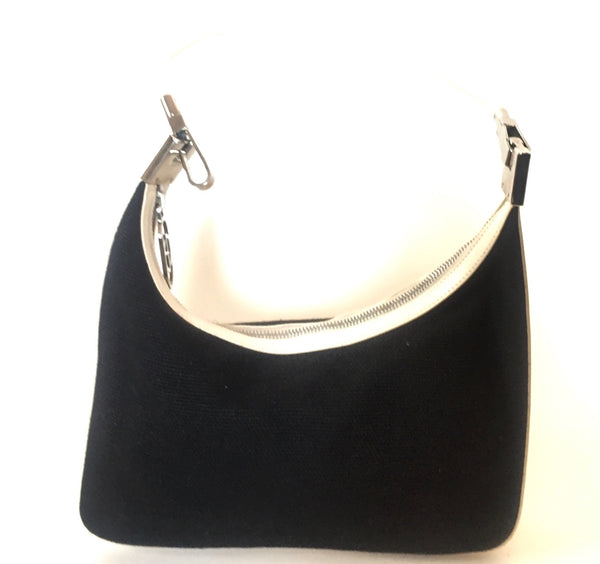 Gucci Black Canvas with White Leather Trim Shoulder Bag | Like New |