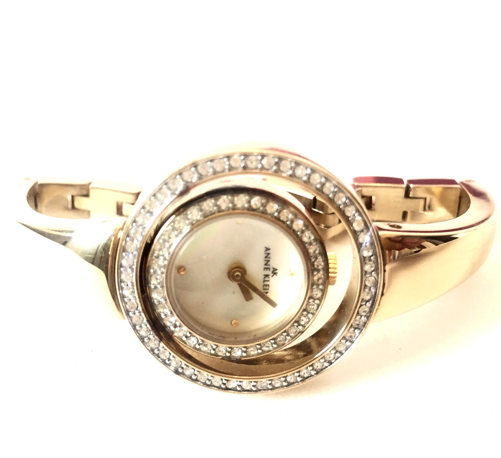 Anne Klein Rhinestone Round Dial Gold Stainless Steel Watch | Gently Used |