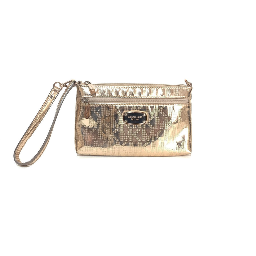 Michael Kors Monogram Rose Gold Wristlet | Gently Used |