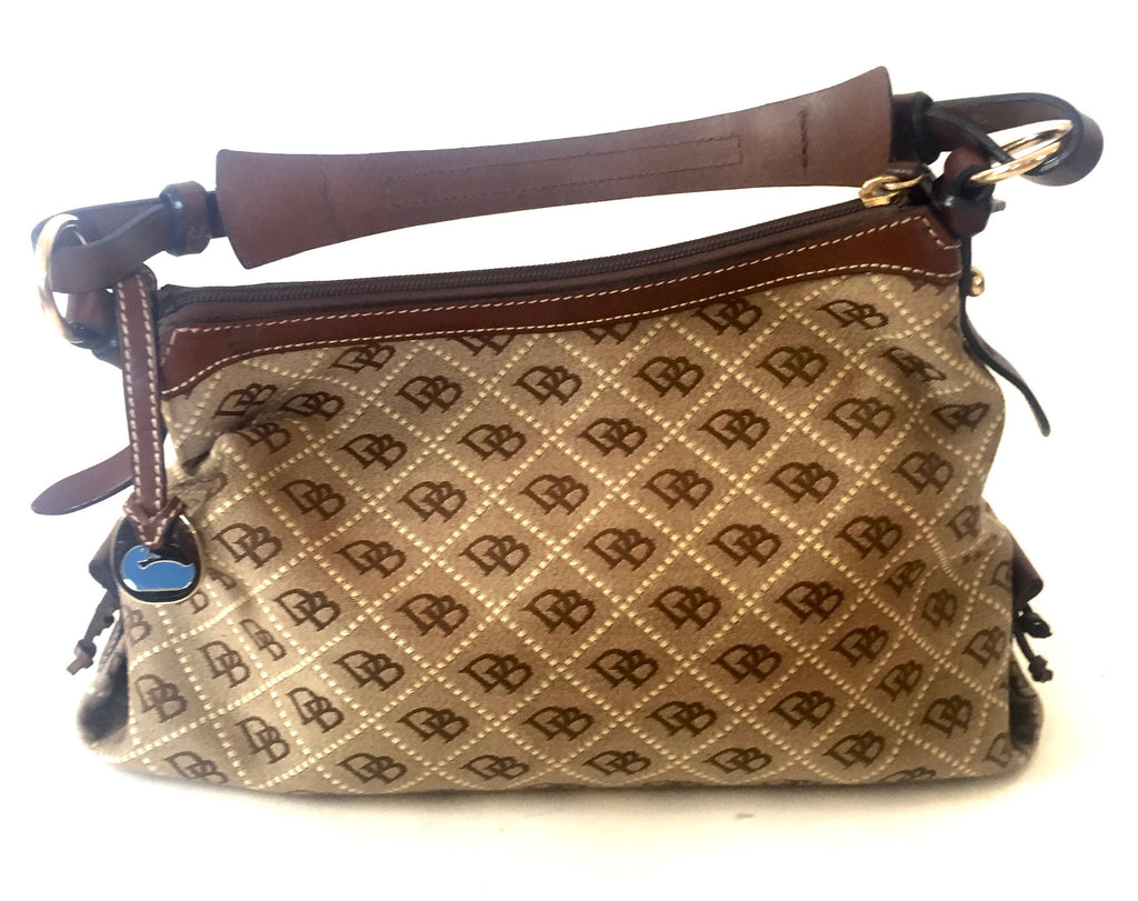 Dooney & Bourke Signature Logo Canvas Shoulder Bag | Gently Used | - Secret Stash