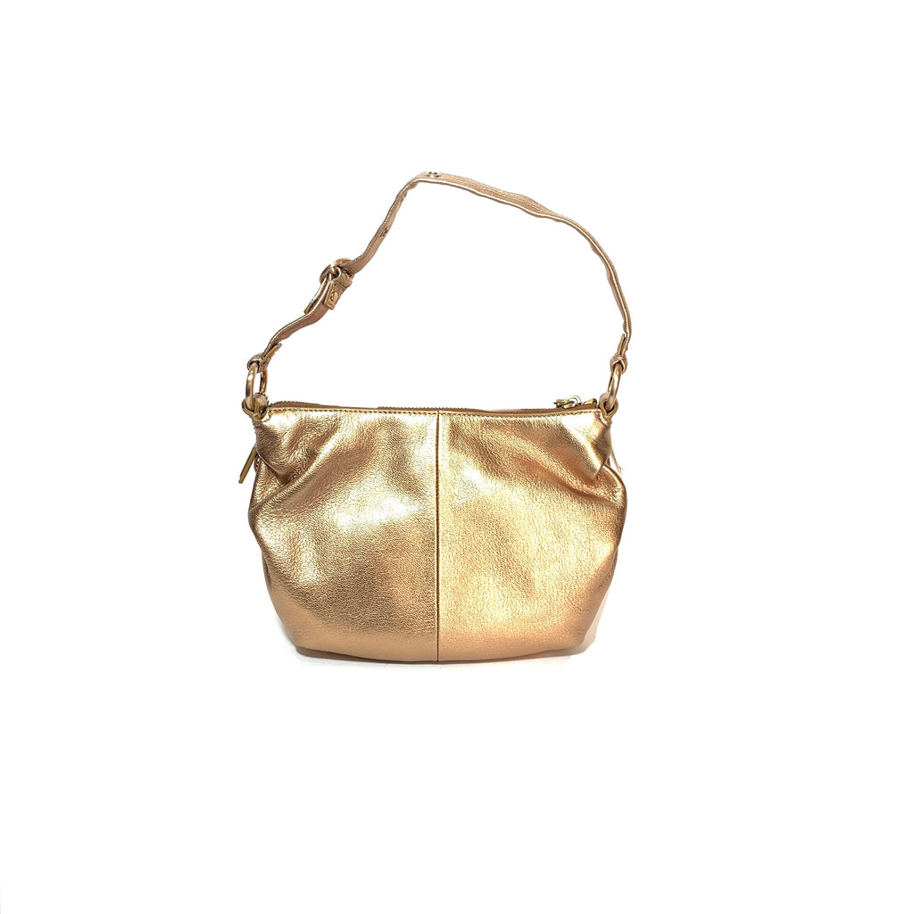Coach Rose Gold Pebbled Leather Mini Shoulder Bag | Brand New |