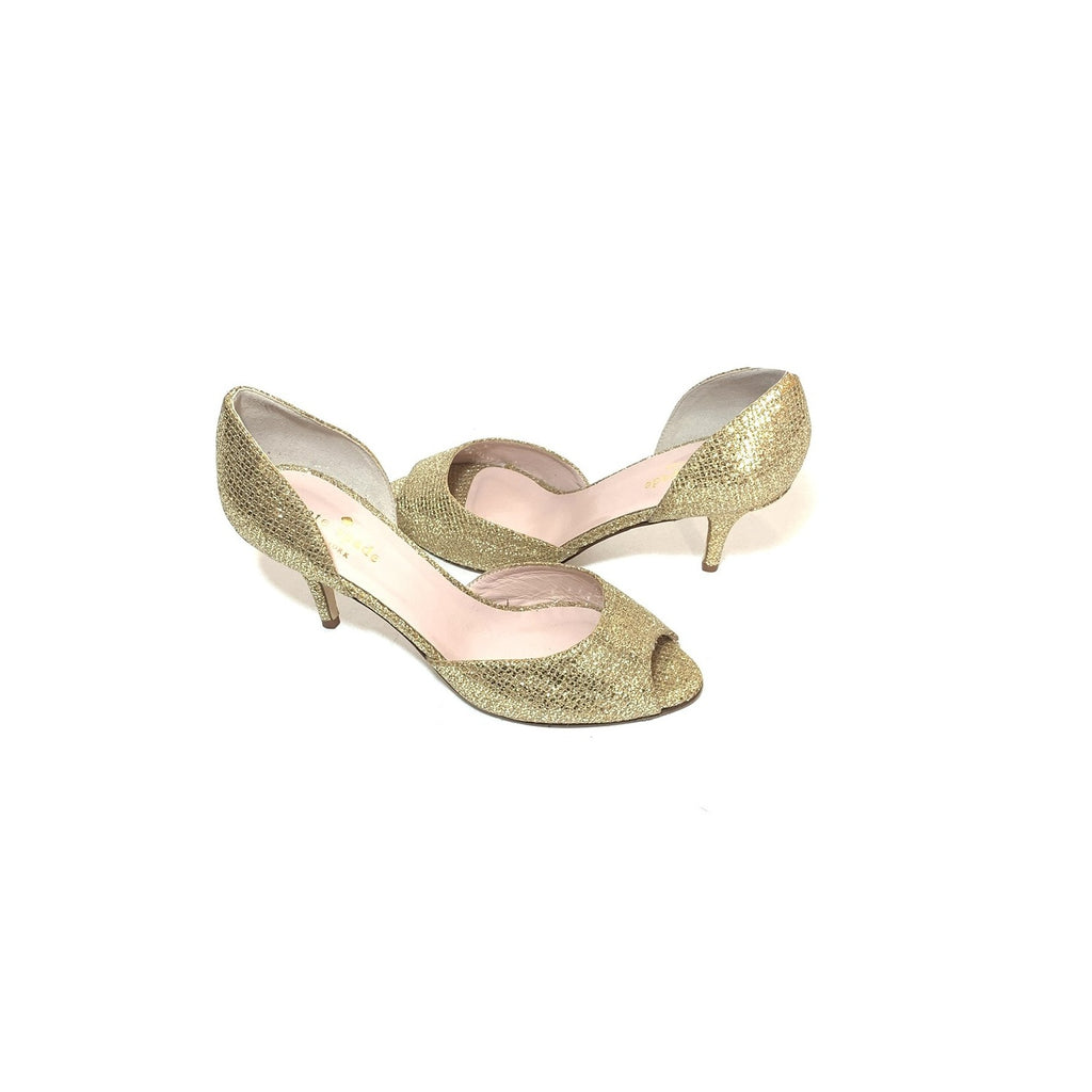 Kate Spade Gold Glitter Peep-toe Heels | Like New |