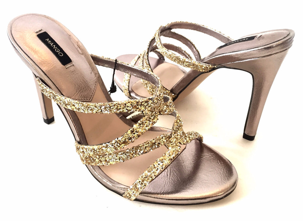 MANGO Gold Sequined Strappy Heels | Brand New | - Secret Stash