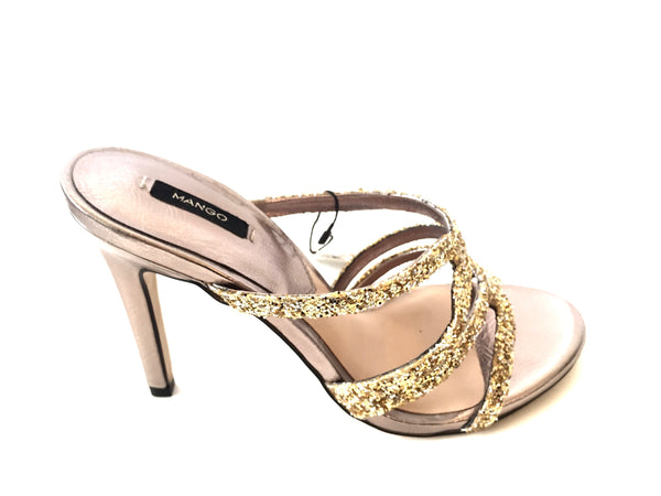 MANGO Gold Sequined Strappy Heels | Brand New |