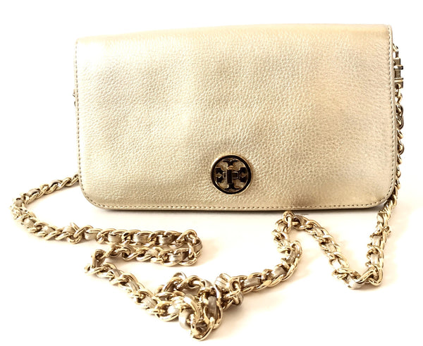 Tory Burch 'Adalyn' Gold Metallic Clutch Bag | Gently Used | - Secret Stash