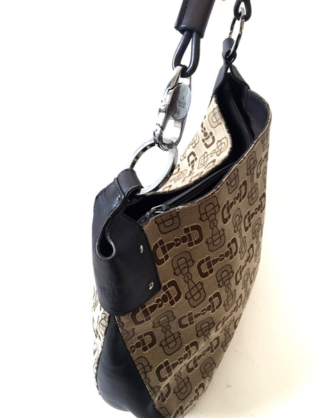 Gucci Printed Canvas with Leather Trim Bag | Pre Loved |