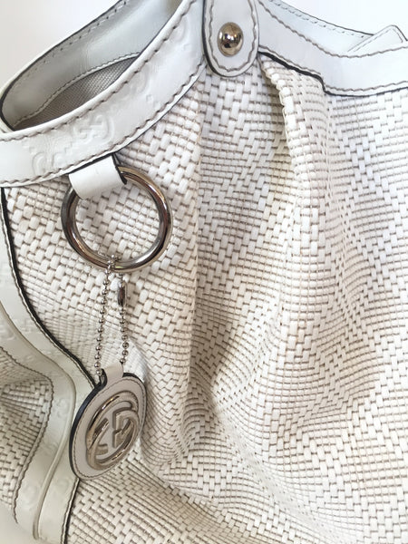 Gucci White Large 'Suki' Straw with Leather Trim Bag | Pre Loved | - Secret Stash