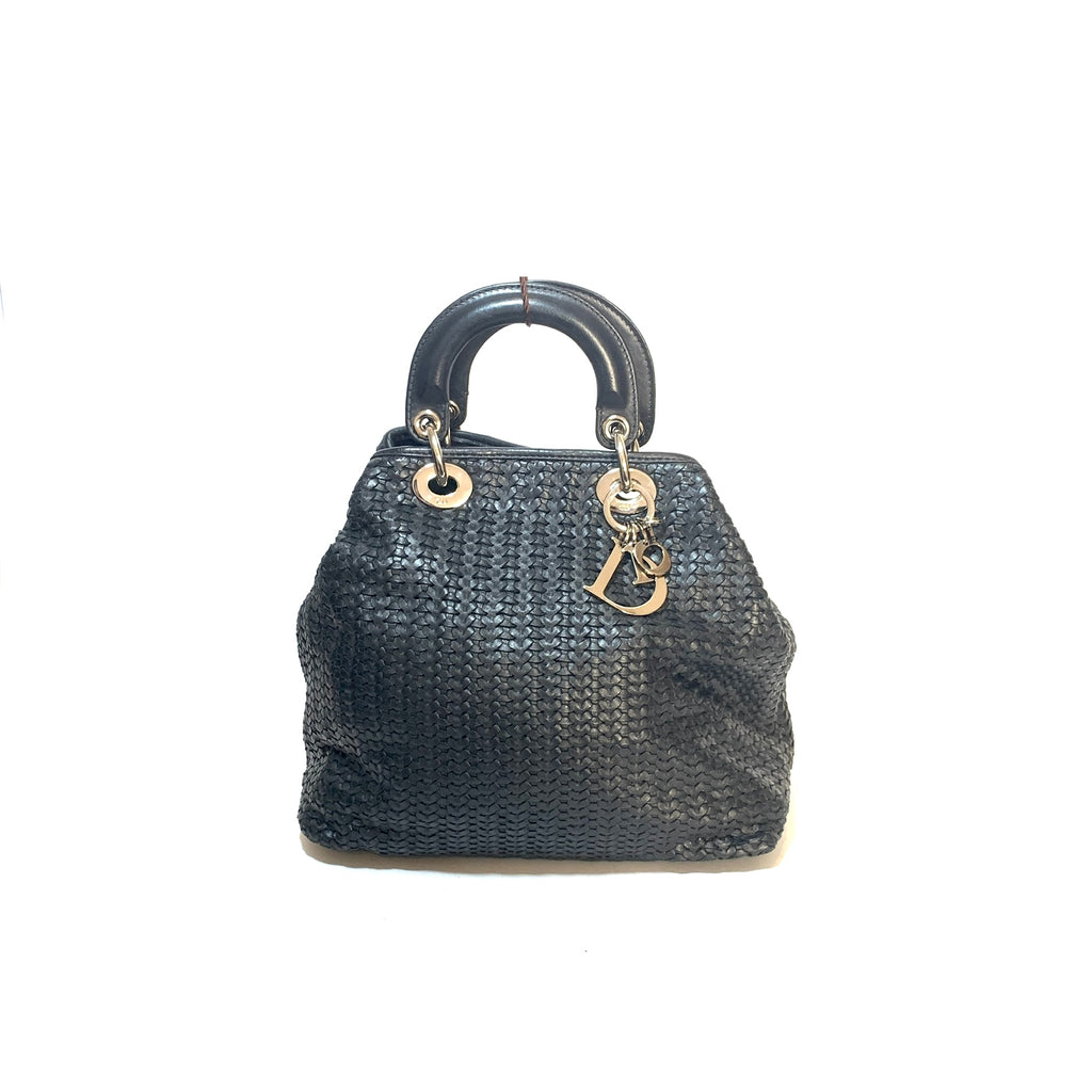 Christian Dior Black Woven Leather 'Lady Dior' Tote | Gently Used |