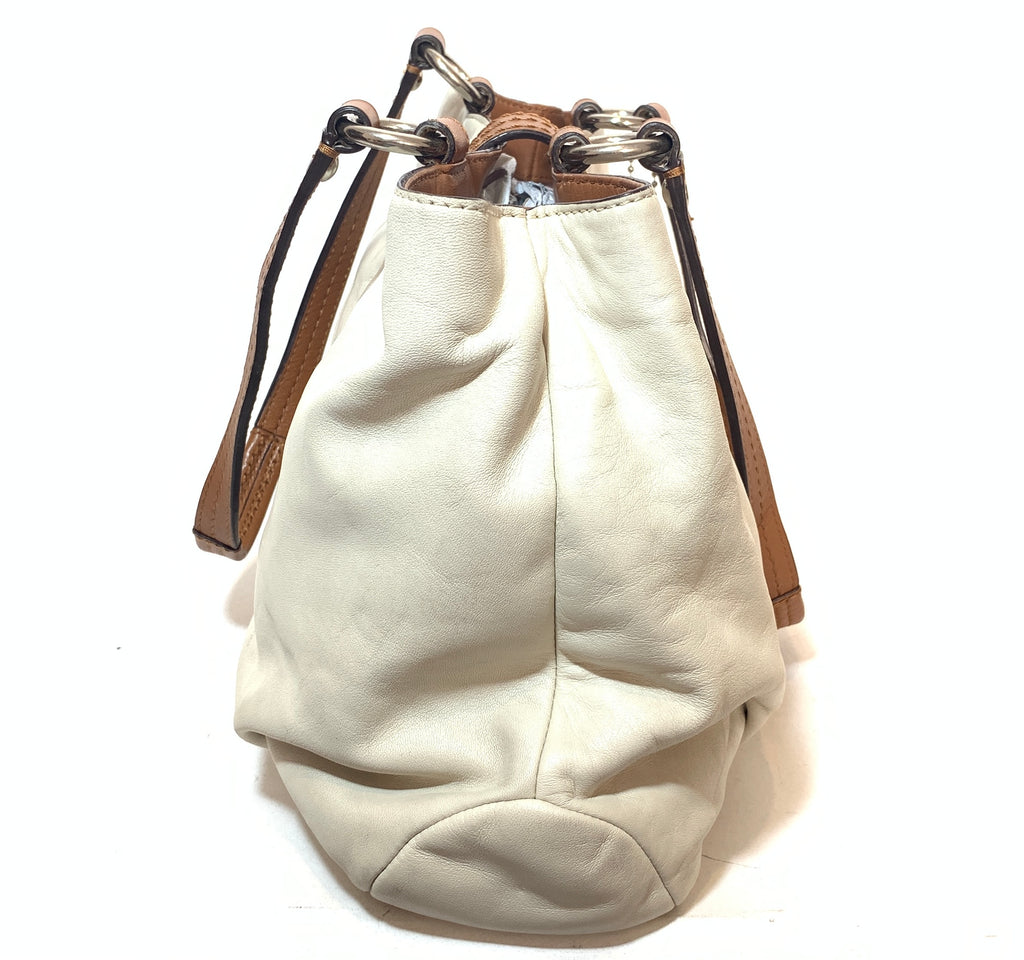 Coach White & Tan Leather Tote | Pre Loved |