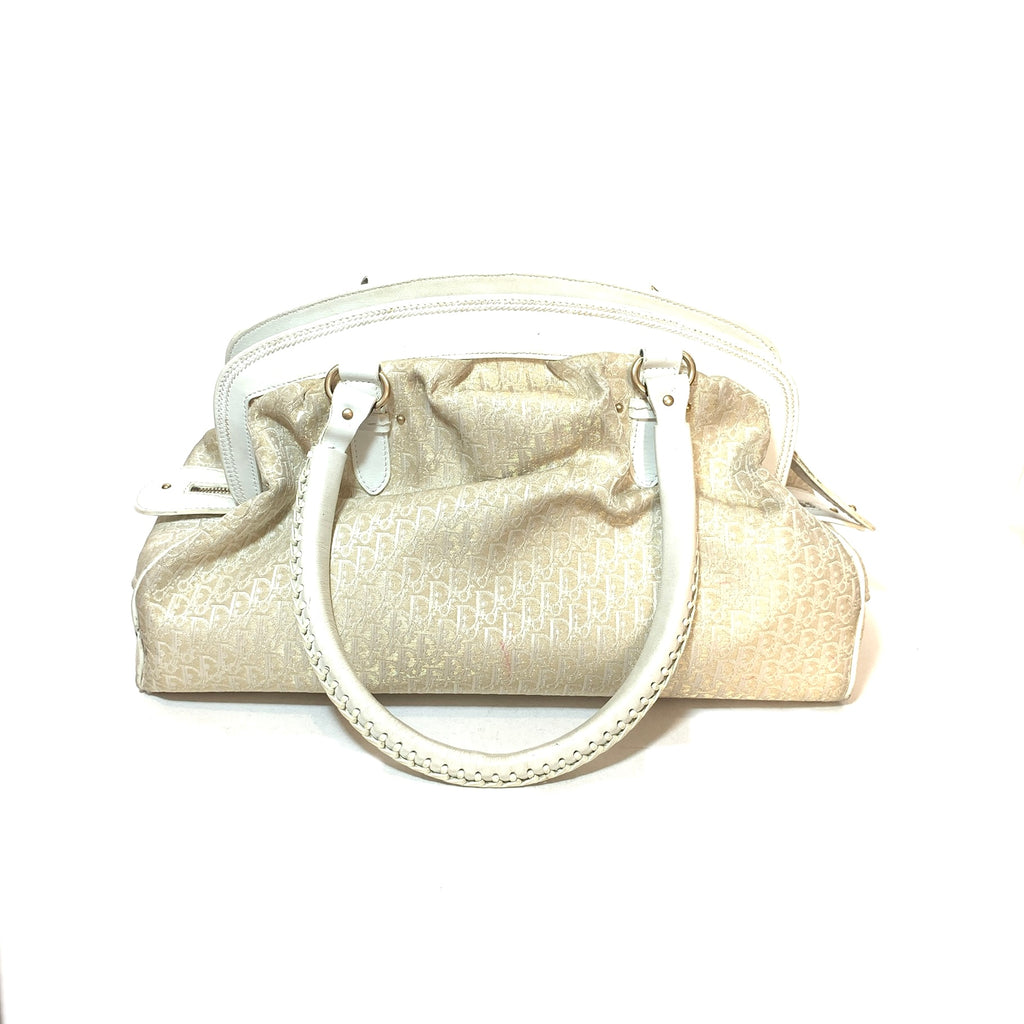 Christian Dior White & Gold 'Diorissimo' Canvas & Leather Tote | Pre Loved |