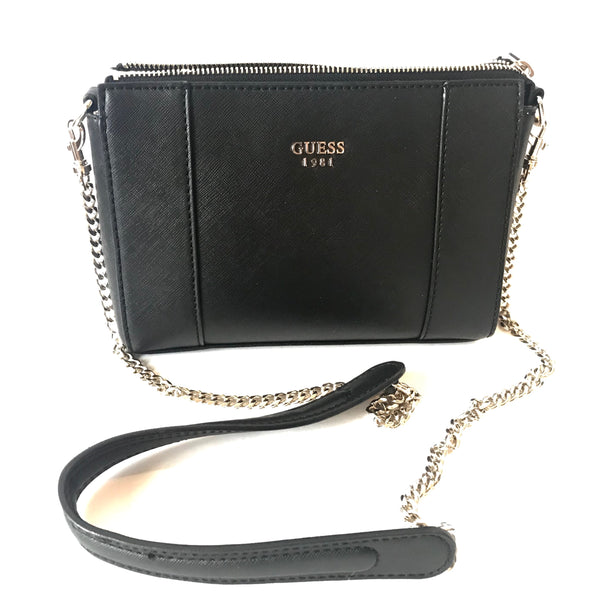 GUESS Black Leather Cross Body Bag | Like New |