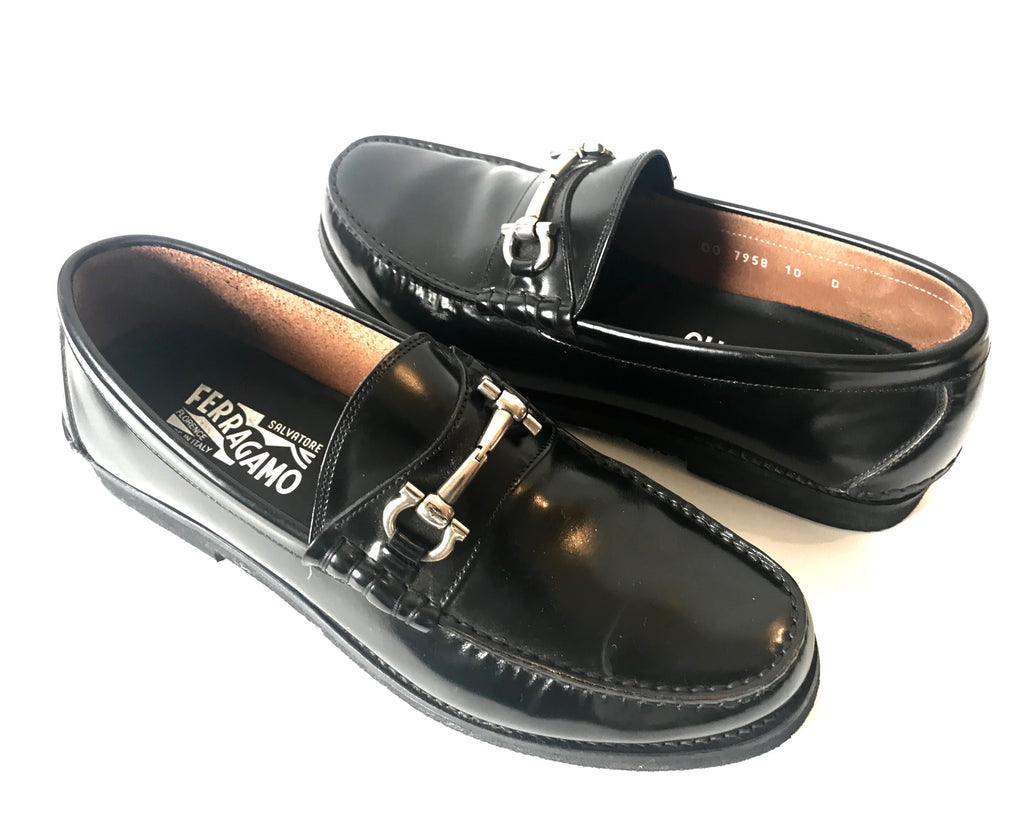 Salvatore Ferragamo Men's Nero Calf Black Leather Loafers | Gently Used |