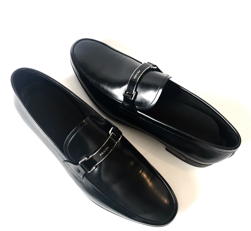 Prada Men's Black Leather Loafers | Like New |