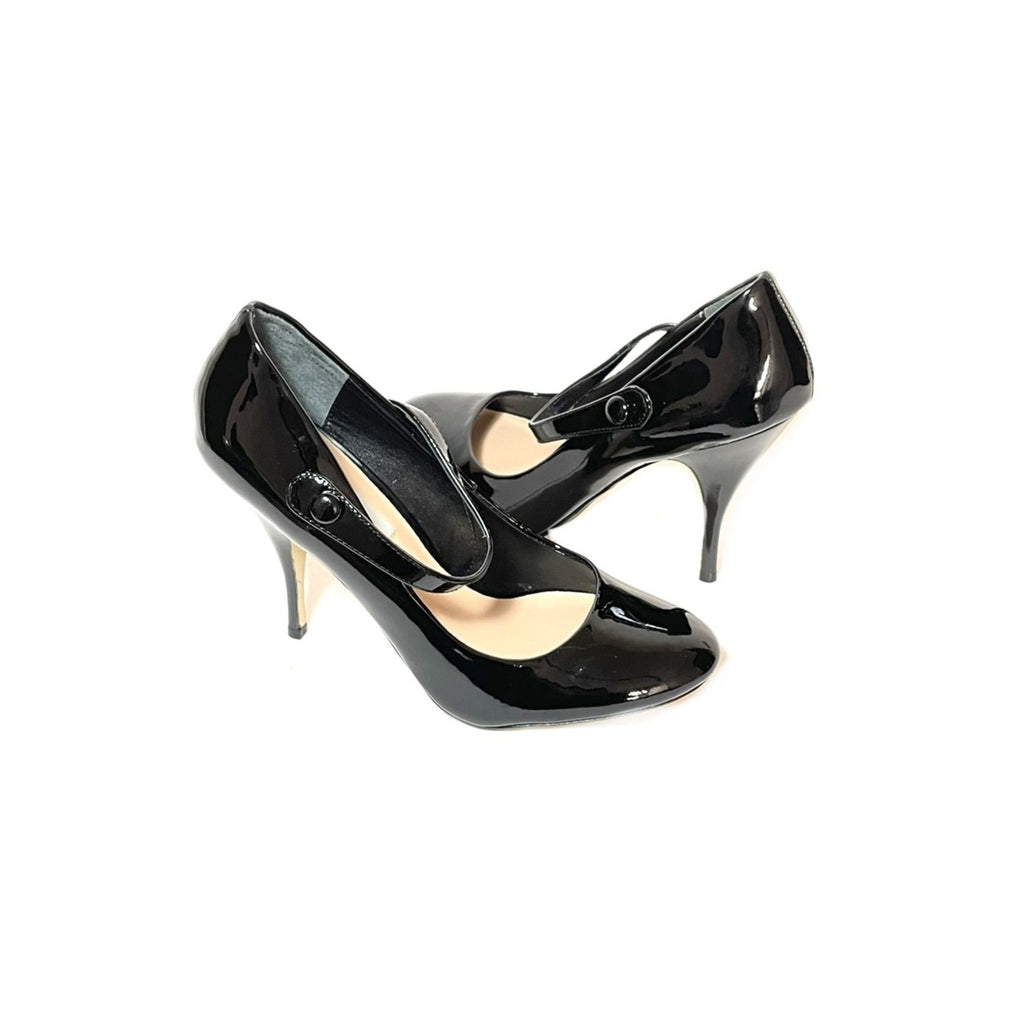 Dune Black Patent Round-Toe Pumps | Like New |