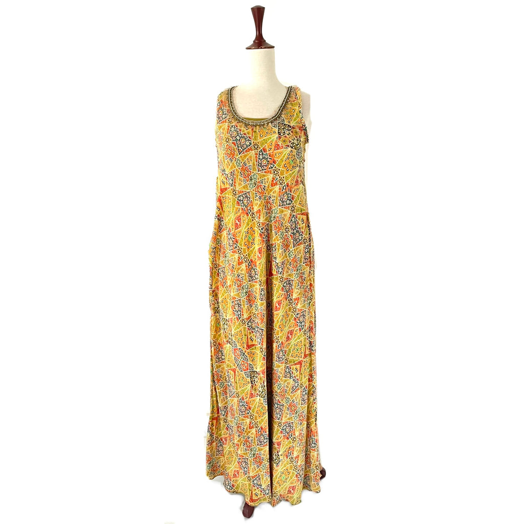 Misha Lakhani Lime Green Printed Maxi Dress | Gently Used |