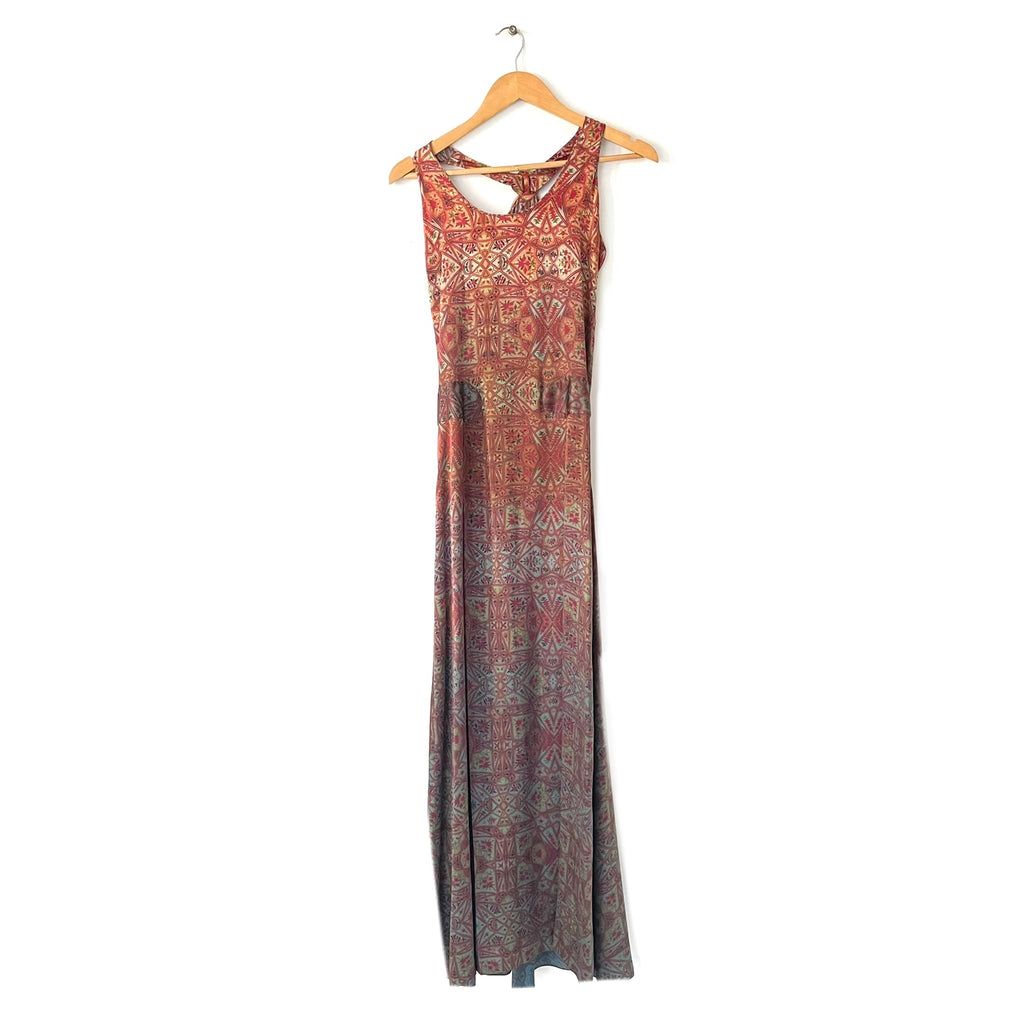 Misha Lakhani Orange Silk Printed Multi-Coloured Maxi Dress | Gently Used |