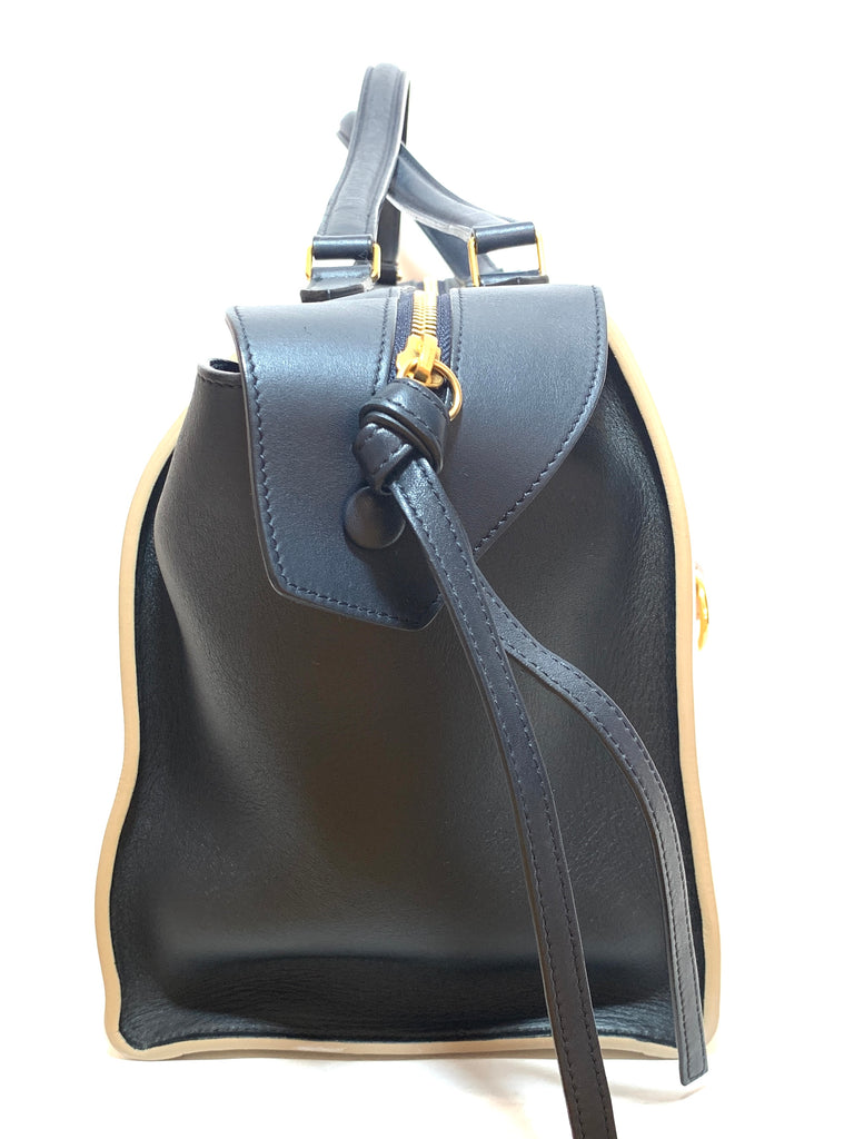 Celine Black & Cream Leather 'Ring' Tote | Gently Used |