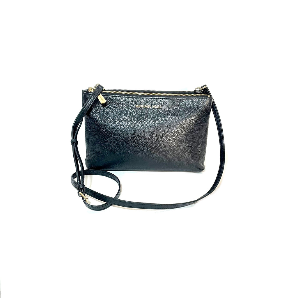 Michael Kors Black Pebbled Leather Cross Body Bag | Gently Used |