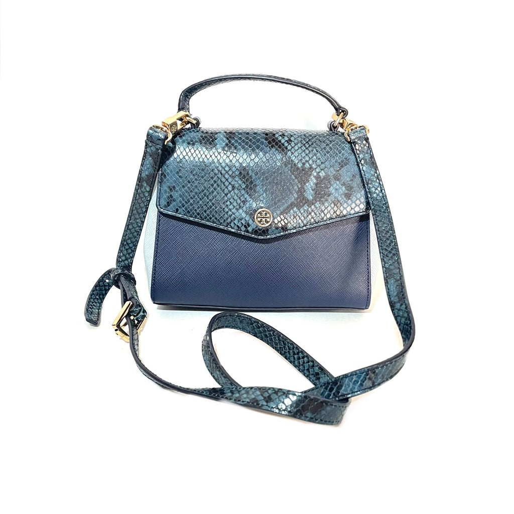 Tory Burch Blue Leather & Embossed Snakeskin 'Robinson' Mini Satchel  | Gently Used |