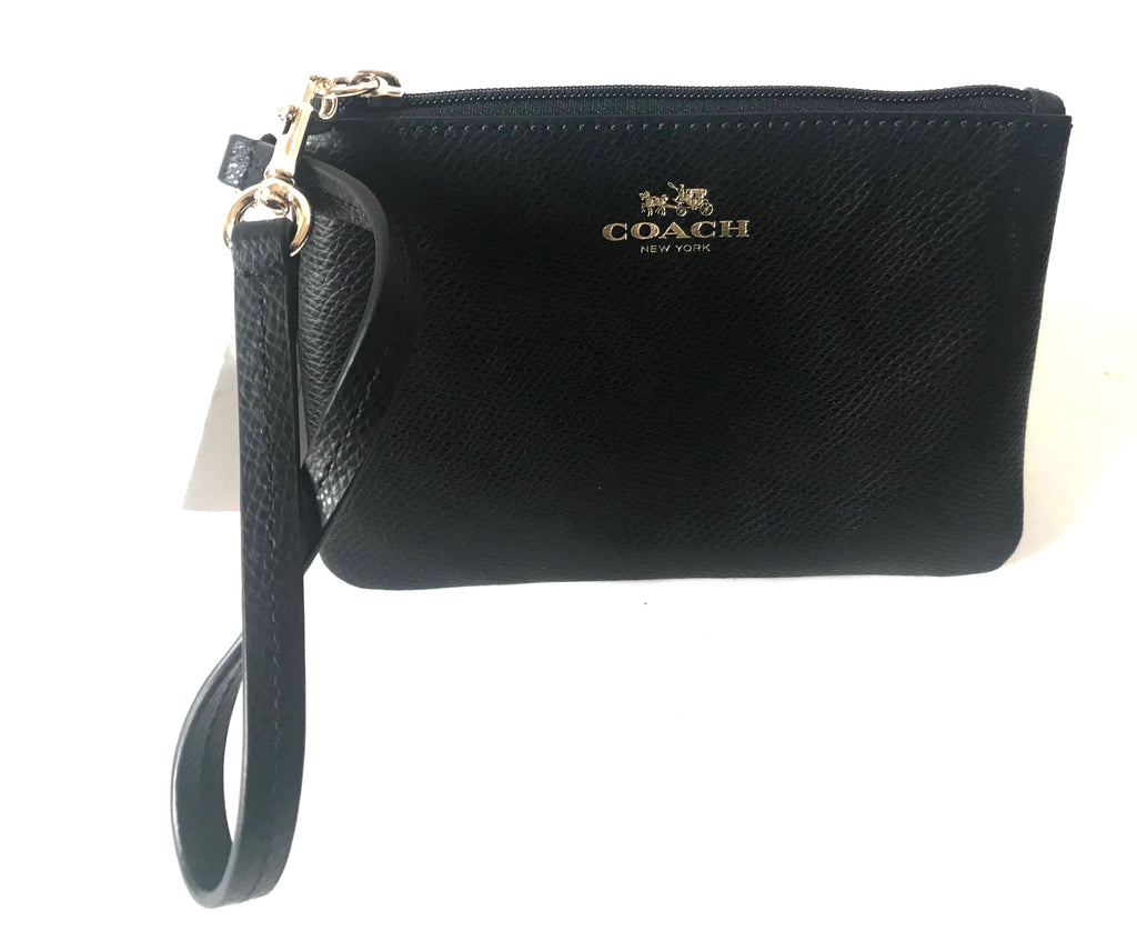 Coach Crossgrain Black Leather Wristlet | Brand New |