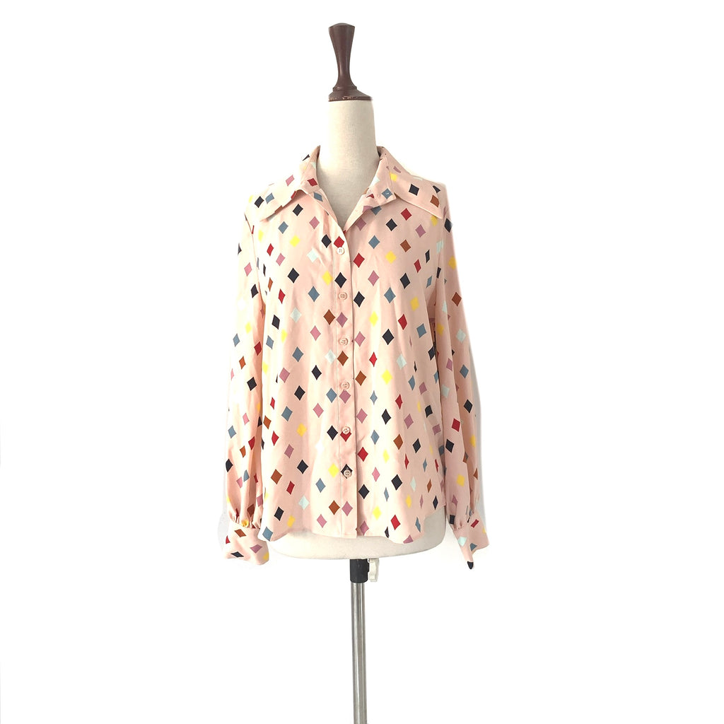 Halogen Light Pink Diamond Print Collared Shirt | Brand New |