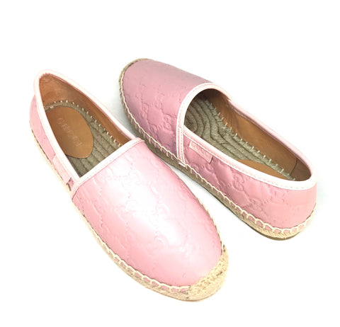 Gucci Signature Light Pink Leather Espadrilles | Brand New |