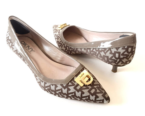 DKNY Monogrammed Canvas and Leather Pointed Pumps | Gently Used |