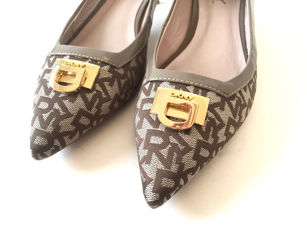 DKNY Monogrammed Canvas and Leather Pointed Pumps | Gently Used | - Secret Stash