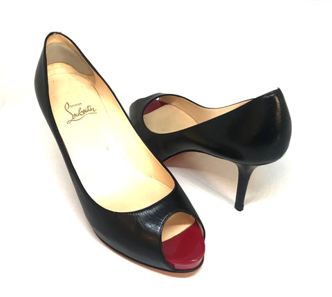 Christian Louboutin Black Peep Toe Pumps | Like New |