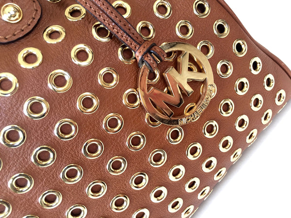 Michael Kors Tan Leather Tote Embellished with Gold Eyelets | Gently Used | - Secret Stash