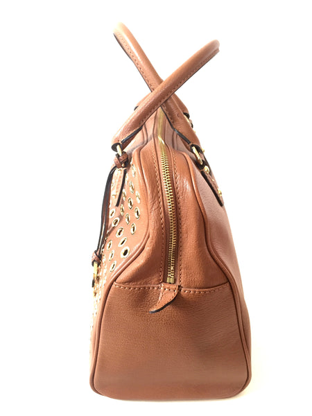 Michael Kors Tan Leather Tote Embellished with Gold Eyelets | Gently Used |