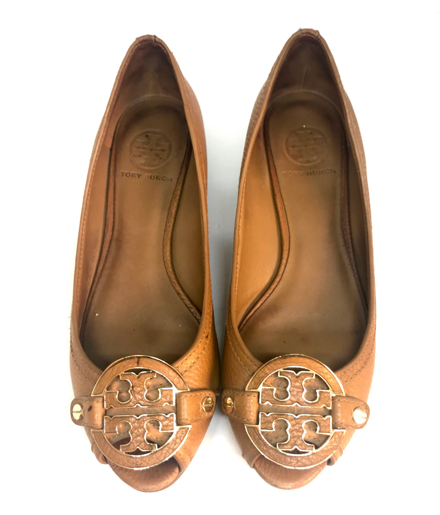 Tory Burch Peep Toe Leather Wedges | Pre Loved |