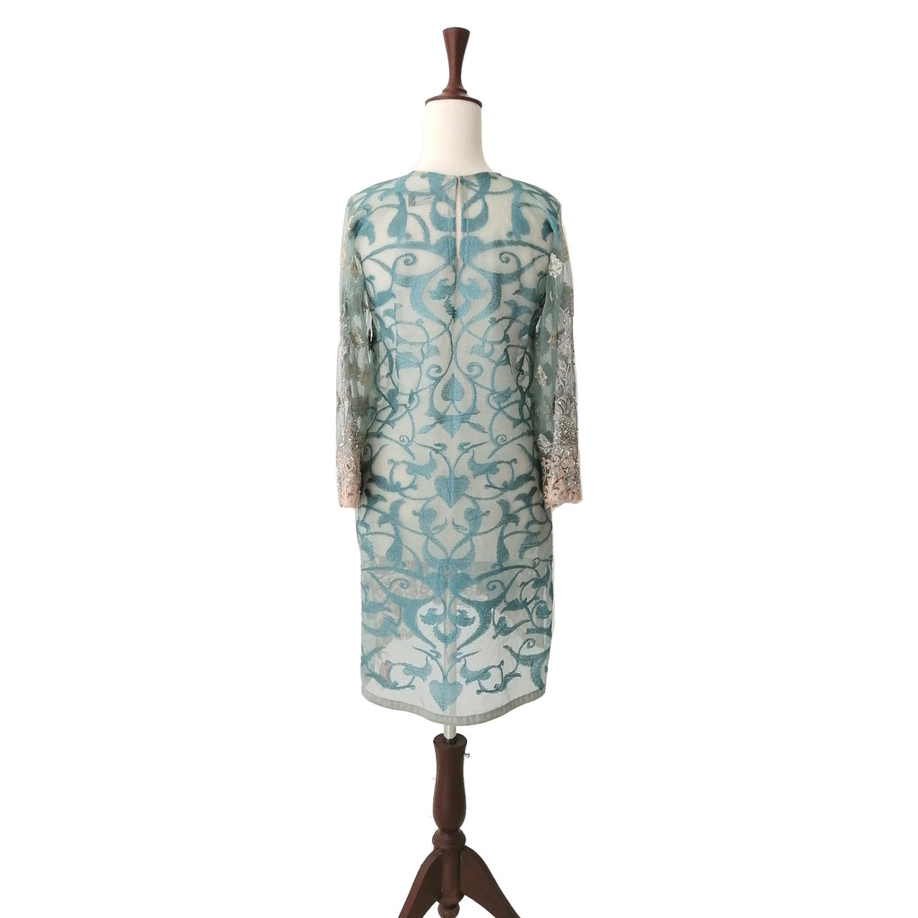 Sana Safinaz Teal Net Embroidered Kameez