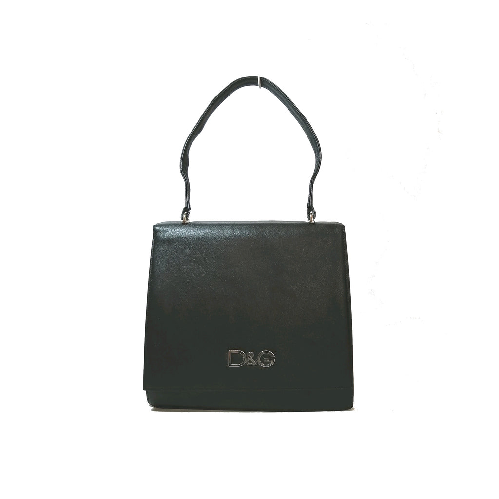 D&G Black Vintage Leather Shoulder Bag
