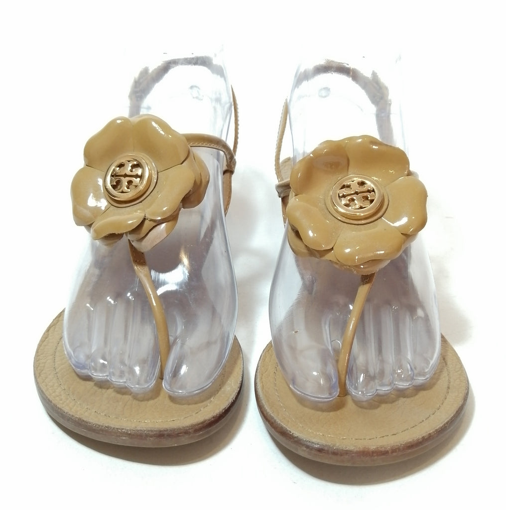 Tory Burch Tan Leather Flower Wedges