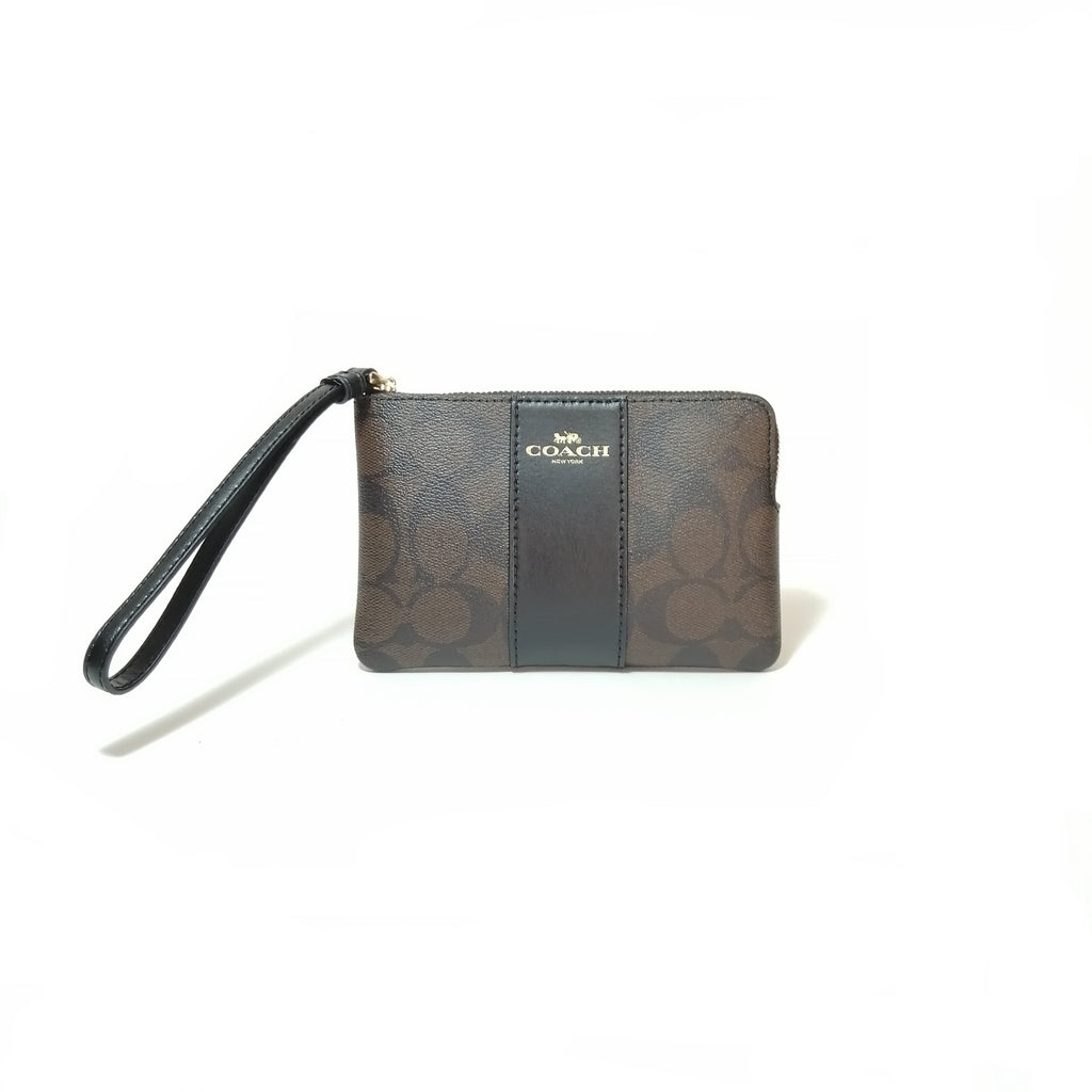 Coach Monogram Brown & Black Wristlet