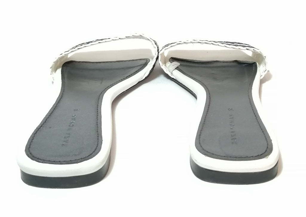 ZARA Black & White Slide Sandals | Gently Used |
