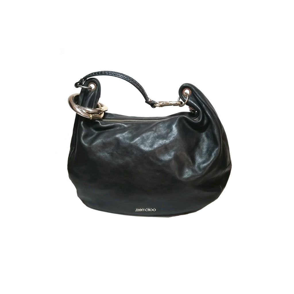 Jimmy Choo Black Leather 'Solar' Hobo Bag