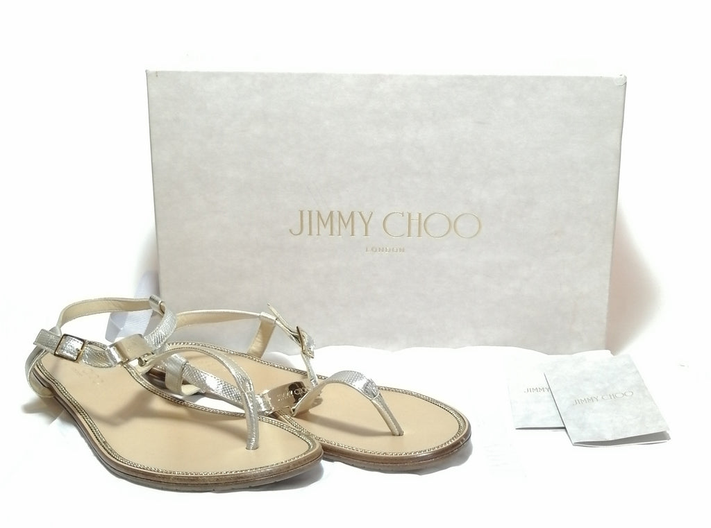 Jimmy Choo Silver Leather Thong Sandals