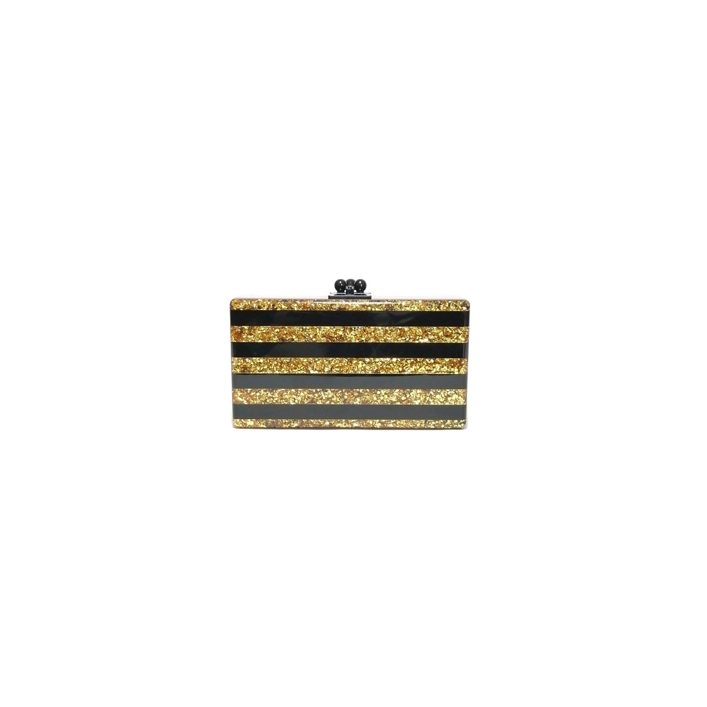 Edie Parker Jean Confetti Acyrlic Black & Gold Striped Clutch