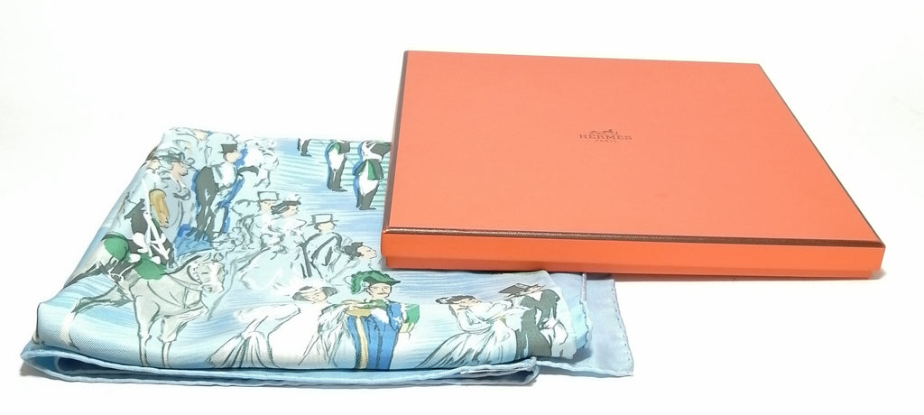 Hermes Light Blue Printed Silk Square Scarf