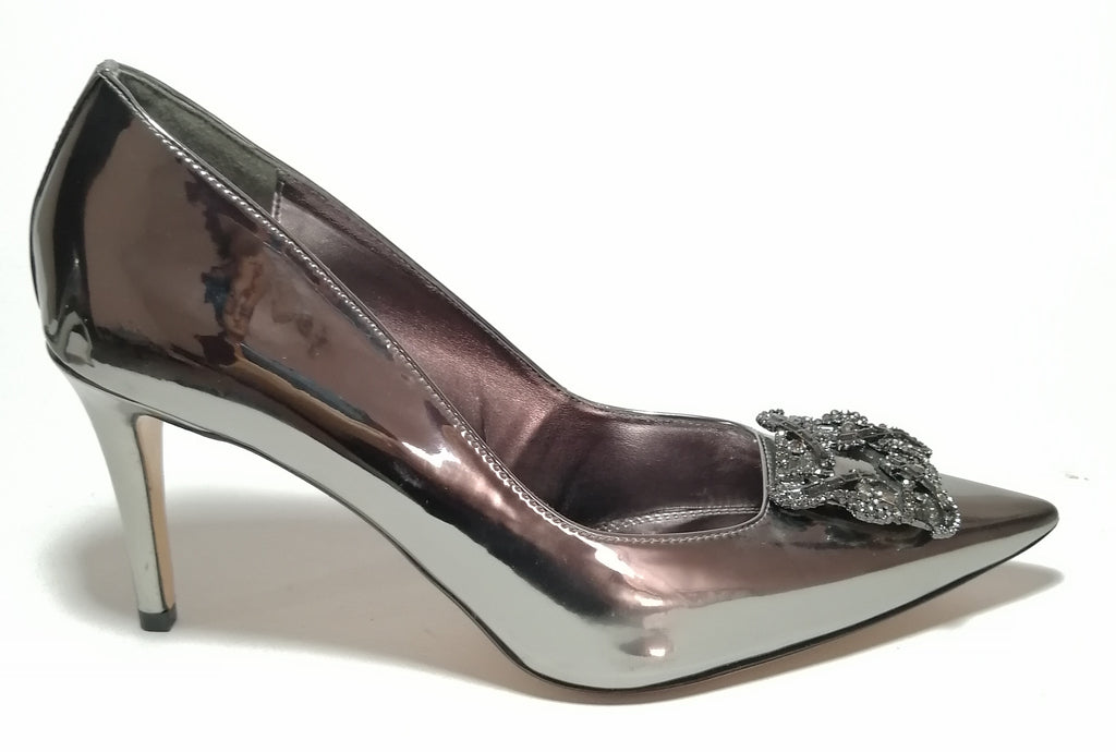 Dune 'Betti' Pewter Brooch Pointed Pumps
