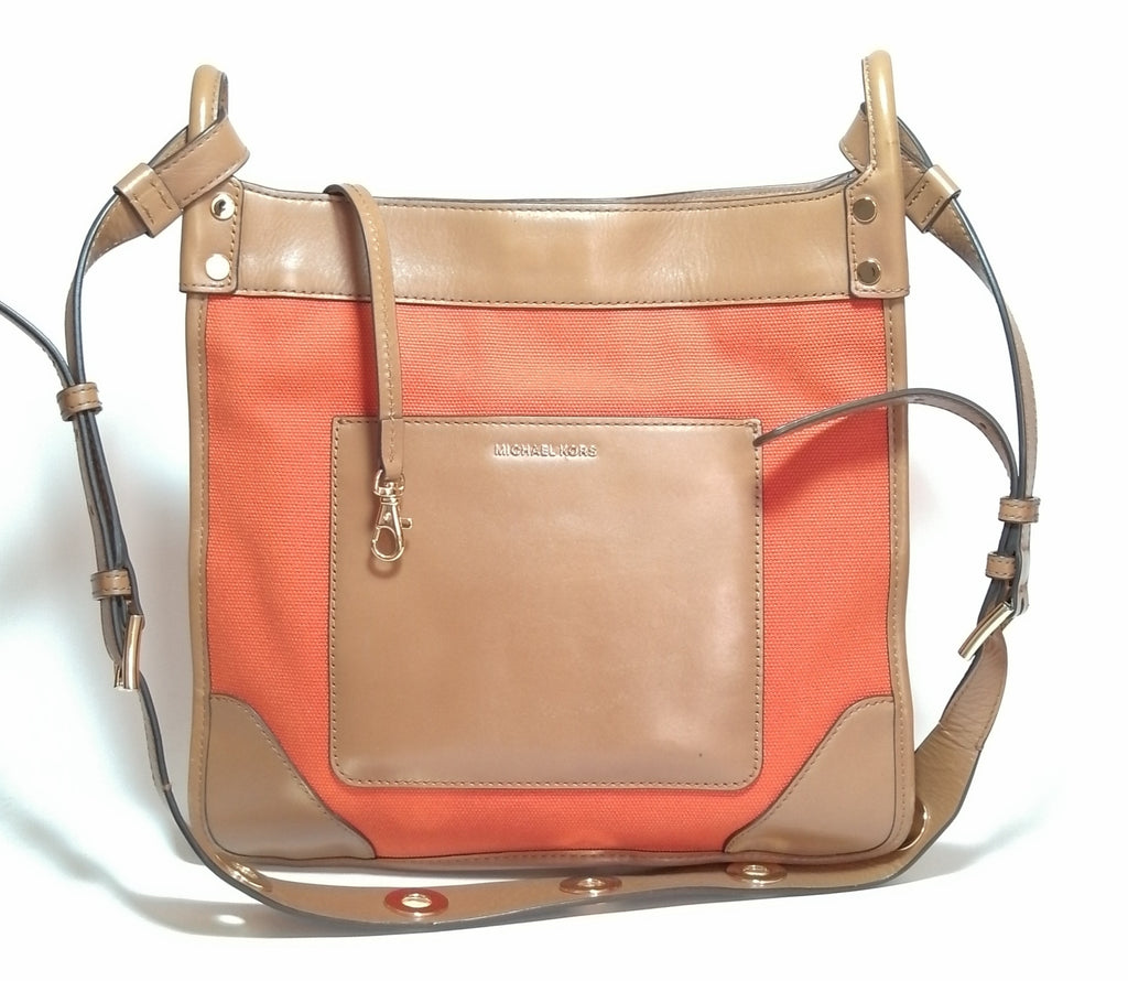 Michael Kors Orange Canvas & Leather Tote