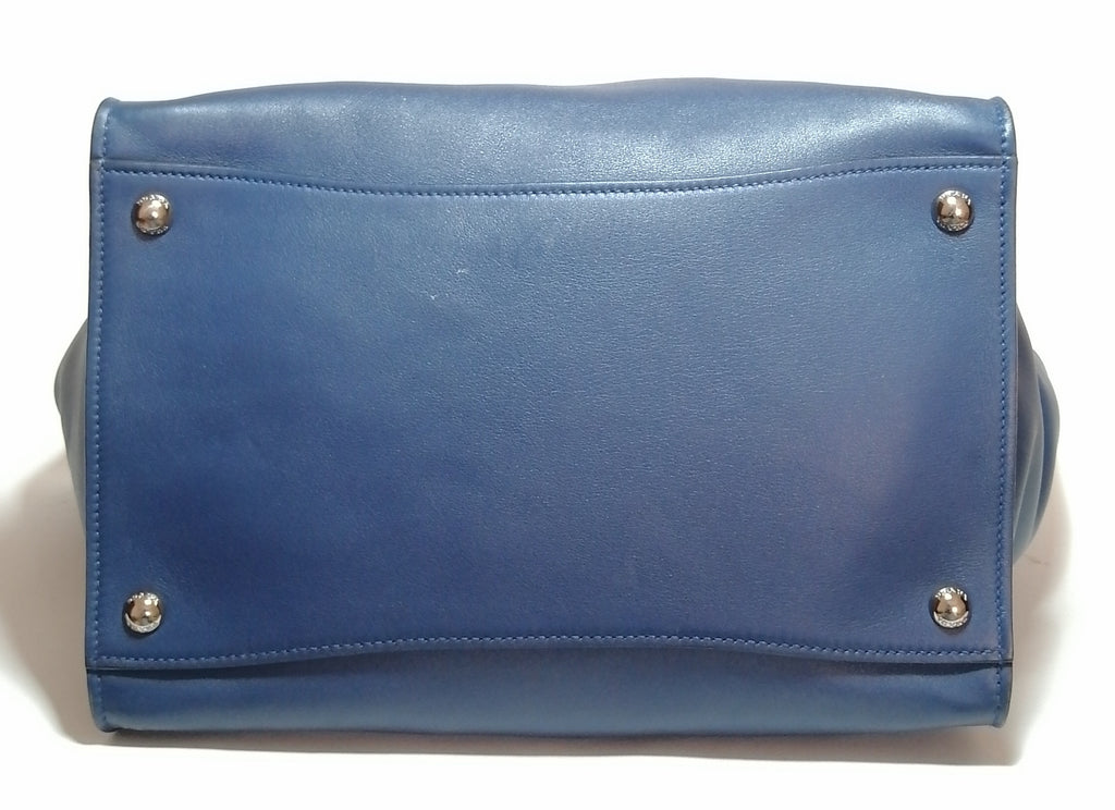 Prada Navy Blue Leather Double Zip Tote