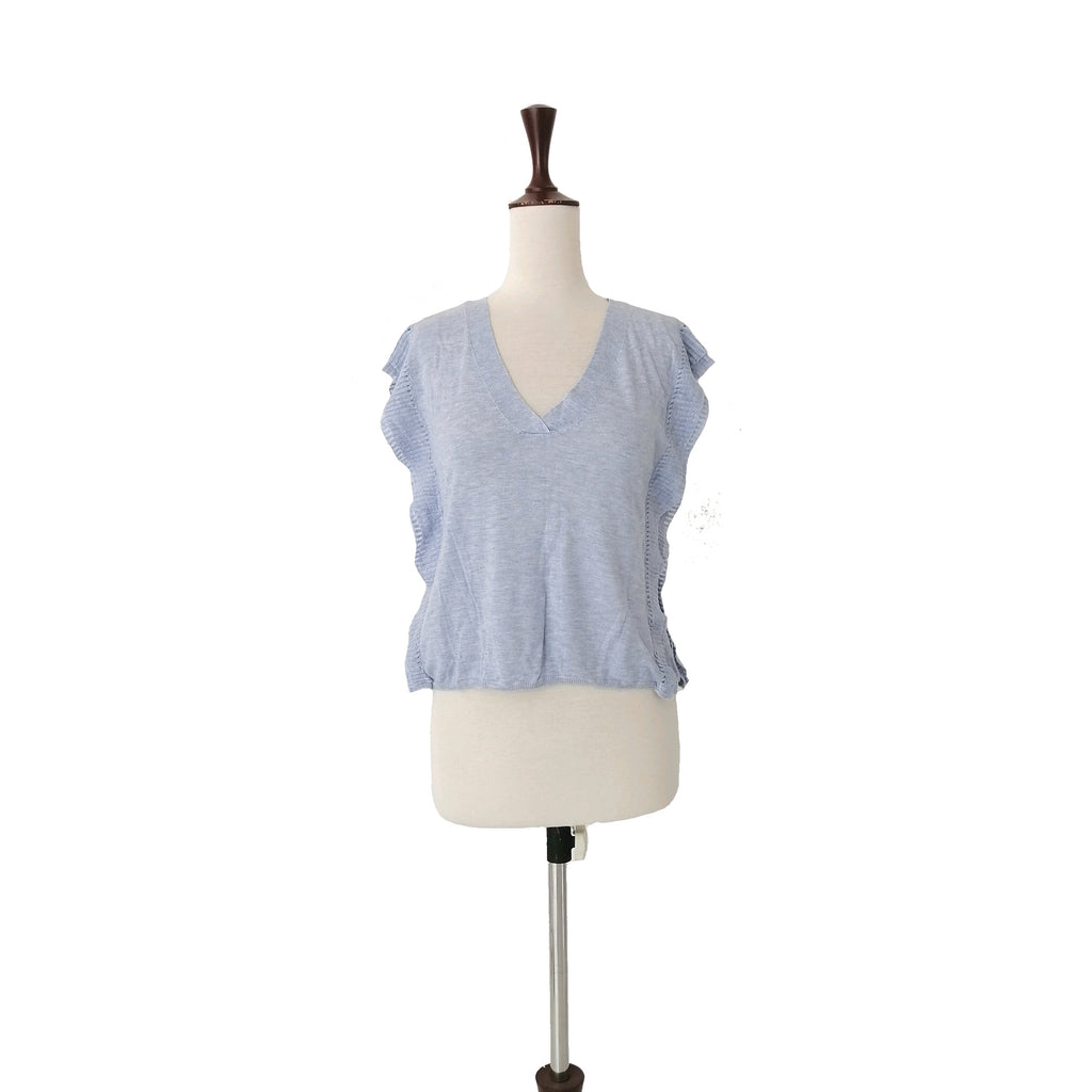 Mango Light Blue Sleeveless Knit Top